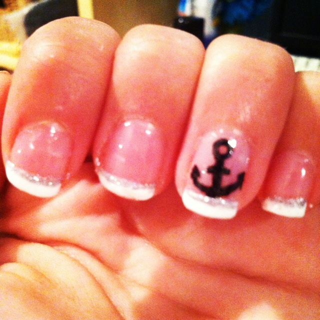 french tip nails with anchor design