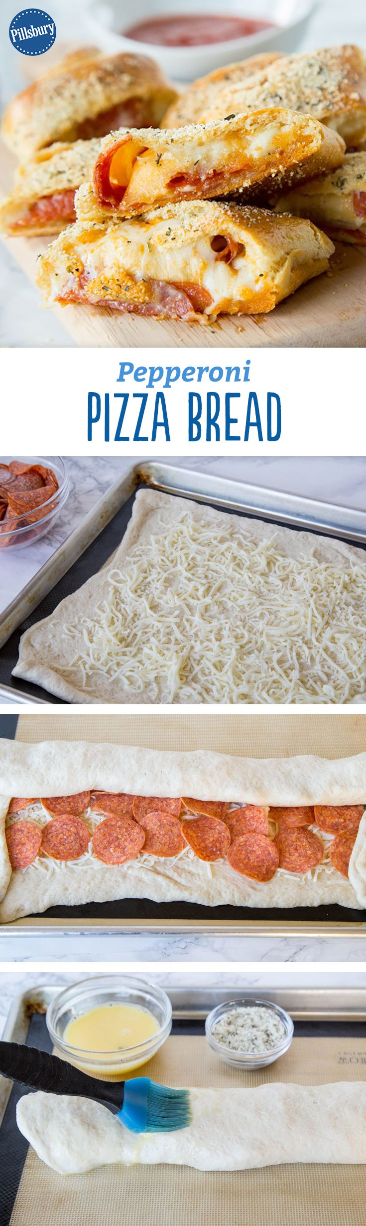 No need to order delivery. This recipe rolls up all the best parts of pizza and cheesy bread in tasty crescent dough! This easy pepperoni pizza bread makes a delicious dinner or fun appetizer the whole family will love.