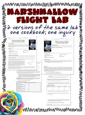 Marshmallow Flight Lab: STEM Mom offers two versions of this lab, one that introduces the scientific method to students, and a second that allows students to develop an experiment on their own. FREE printable.