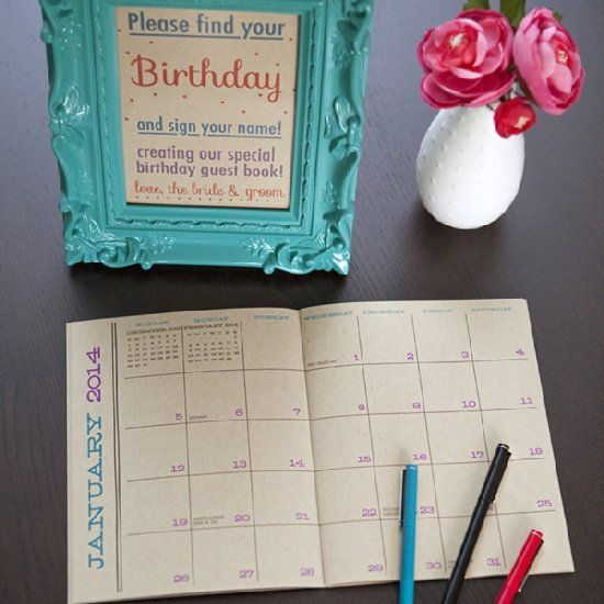 Looking for a unique Guest Book idea? How about this DIY 'birthday calendar' guest book!