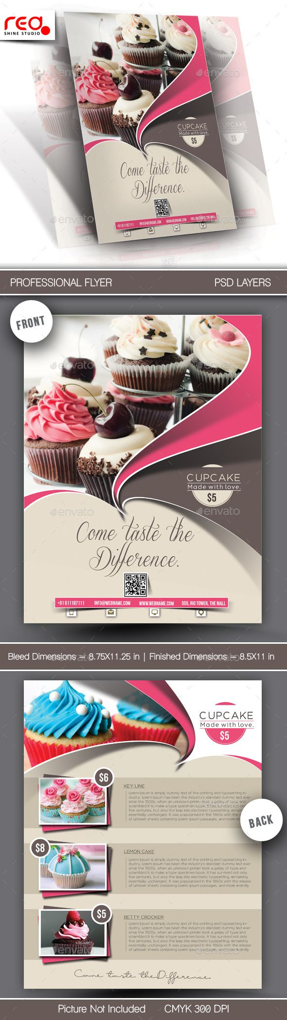 Cupcake Flyer & Poster Template #design Download: graphicriver.net/...