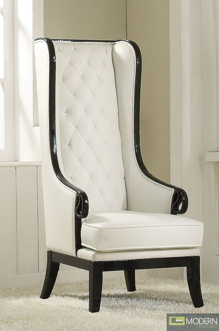 Neo classic opal black white high back accent wing arm - High back wing chairs for living room ...