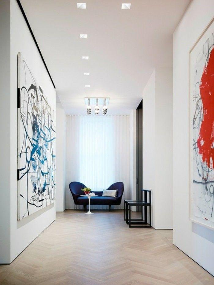 Perfekt Leinwand Bild Xxl Flur Deko Blaue Couch Tiefe