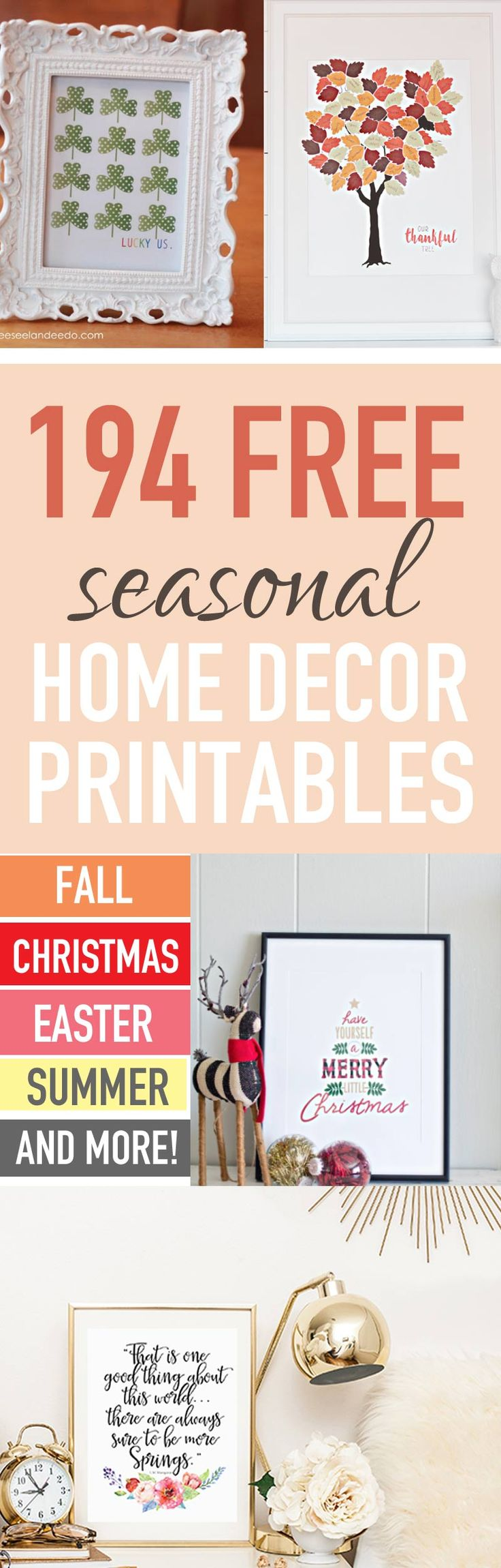 Whoa--you won't believe this list of 194 FREE SEASONAL HOME DECOR PRINTABLES! There's home decor prints for Christmas, Fall, Easter, Spring, New Year's, Mother's Day, Summer and more! This is a great post to reference over and over throughout the year for seasonal decorating!