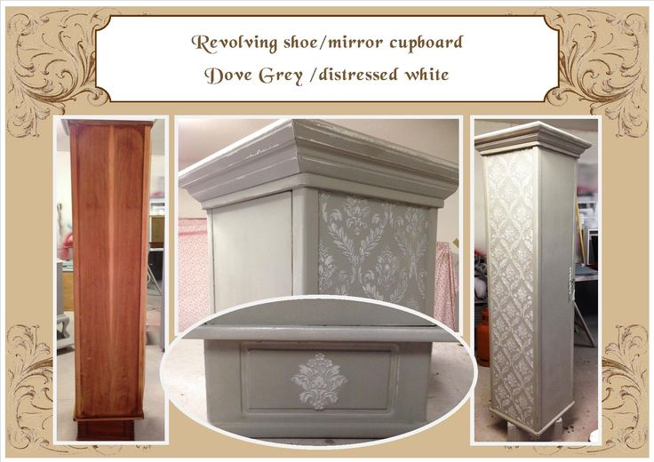 Revolving shoe/mirror cabinet Grey & white details