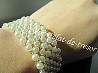 Bracelet tissé Perles ivoire nacre