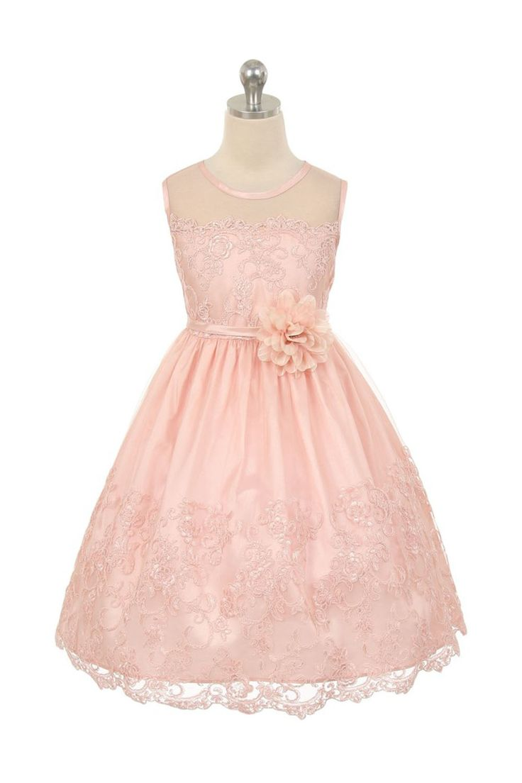 Best 25 pink flower girl dresses ideas only on pinterest blush blush pink embroidered tulle overlayed flower girl dress with illusion neckline dhlflorist Gallery
