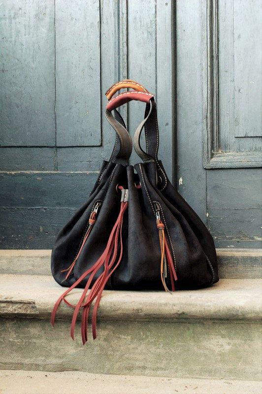 Marlena čierna koža ručné žena kabelku OVERSIZE LADYBUQ taška