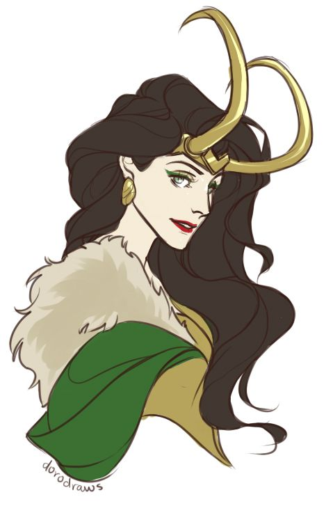 Lady Loki <3 My Tumblr and Pinterest profile pic, so beautiful!!!! <3 <3  She did it : http://dorodraws.tumblr.com/