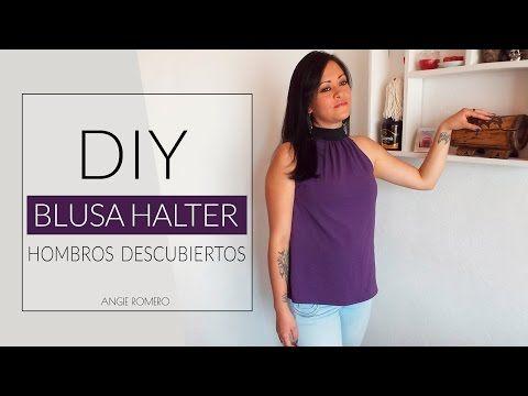 DIY - Blusa cuello halter con lazo largo para anudar - Sin moldes - YouTube