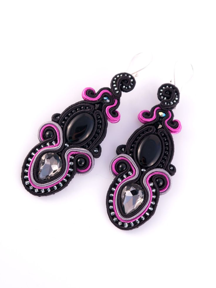 #blog #ludozerna.com #soutache #earrings #elegant #black #fashionjewelry #fashion #jewellery #highfashion #jewellery #fuschia #grey #100days