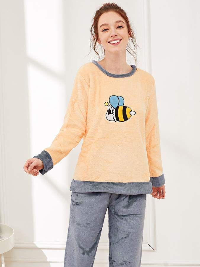 ea8352da3e Shein Bee Embroidered Plush Pajama Set #Embroidered#Bee#Shein ...