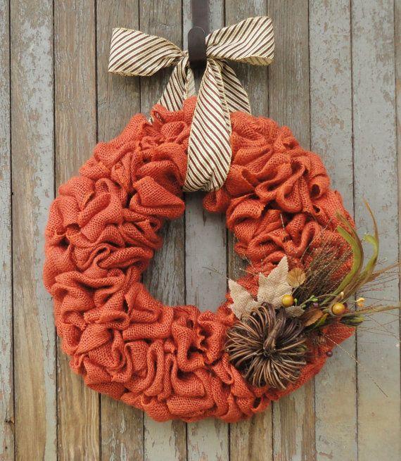 Fall Burlap Wreath, Pumpkin Burlap Wreath, Burnt Orange Buralp Wreath, Thanksgiving Wreath, Autumn Burlap Wreath, Grapevine Pumpkin Wreath