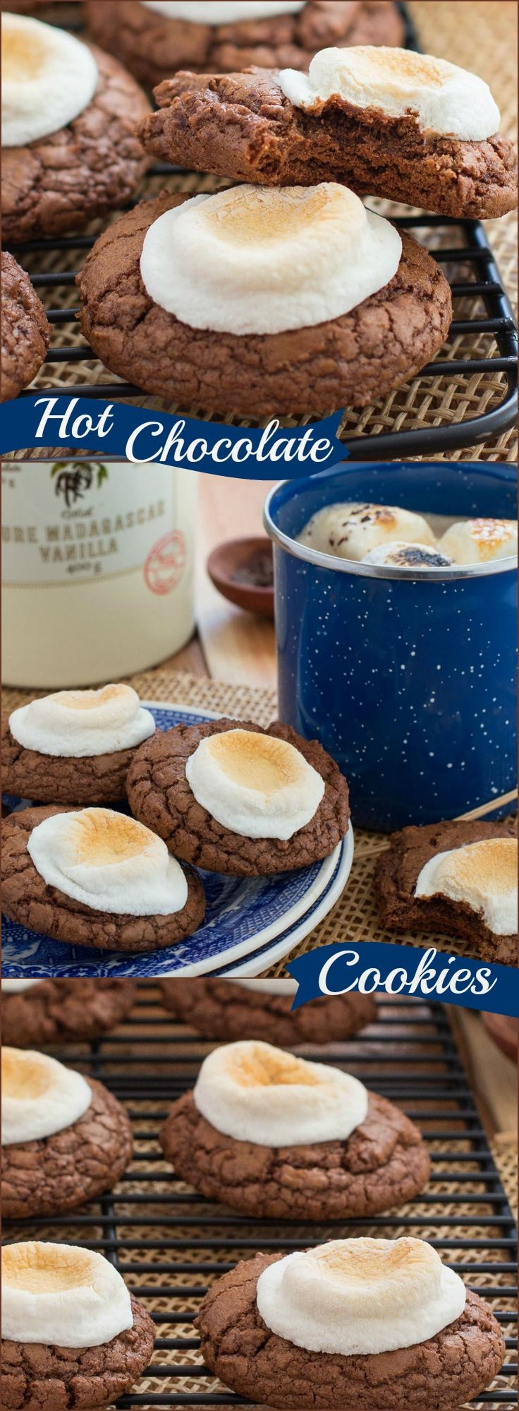 This 5 star recipe for Hot Chocolate Cookies is a chocolate lover's dream cookie! Each cookie is topped with a toasted marshmallow