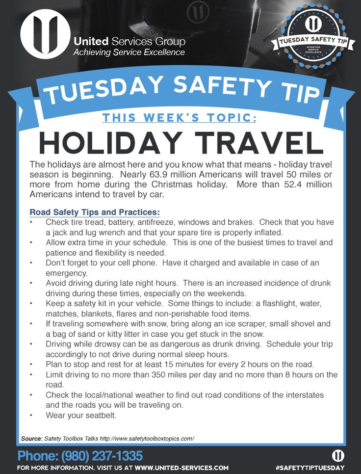 This week's Tuesday Safety Tip is about the Holiday travel