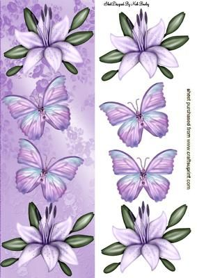 LAVENDER LILIES WITH BUTTERFLIES TALL DL on Craftsuprint - Add To Basket!