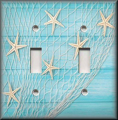 Beach Home Decor - Starfish Fishing Net Aqua Blue - Light Switch Plate Cover