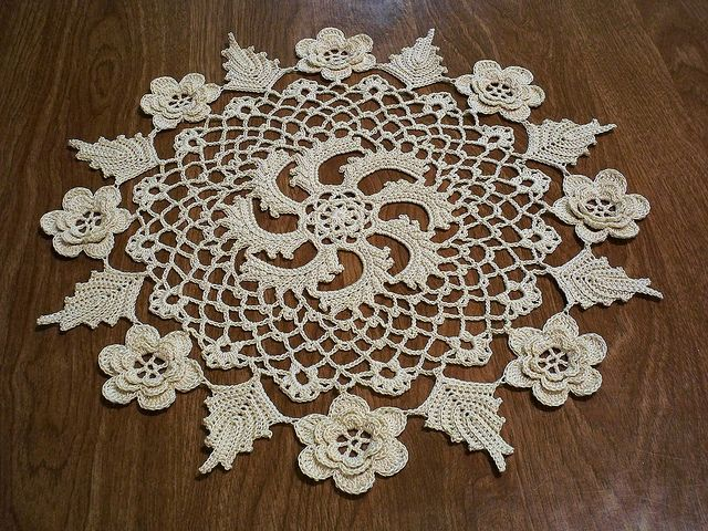 "Lace Crochet Irish Rose Doily ""Crocheted from vintage pattern instructions. A gift for a co-worker friend."""