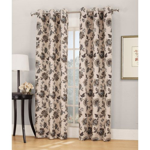 Holbrook Print Thermal Grommet Curtain Panel, Linen: Decor : Walmart ...