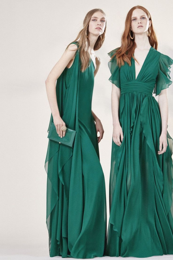 Elie Saab Resort 2016 - emerald green crepe georgette gowns via @modaoperandi