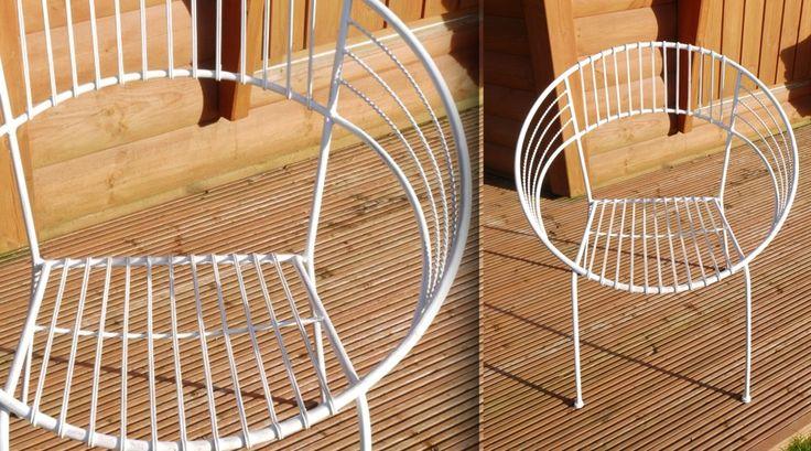 Chaise style Art Déco blanche en fer forgé