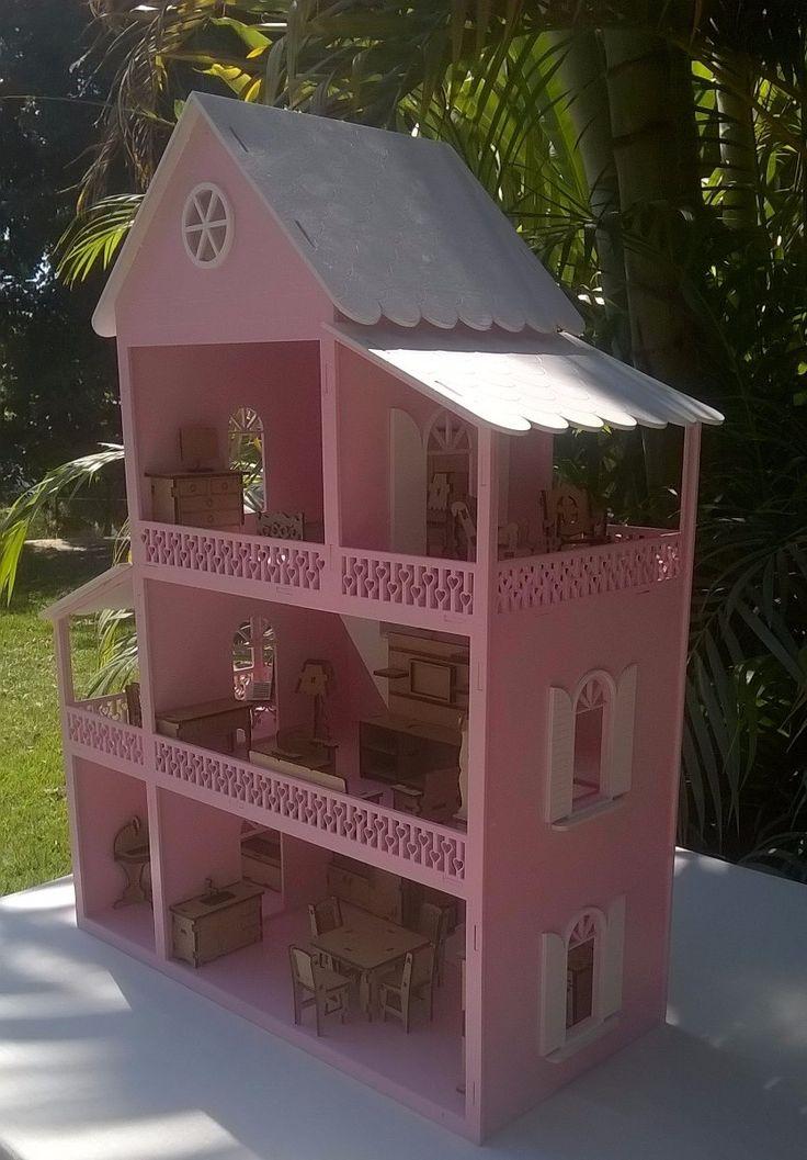 Casinha De Boneca Polly Em Mdf Pintada Mobiliada Com 31 Pçs - R$ 199,90 no MercadoLivre