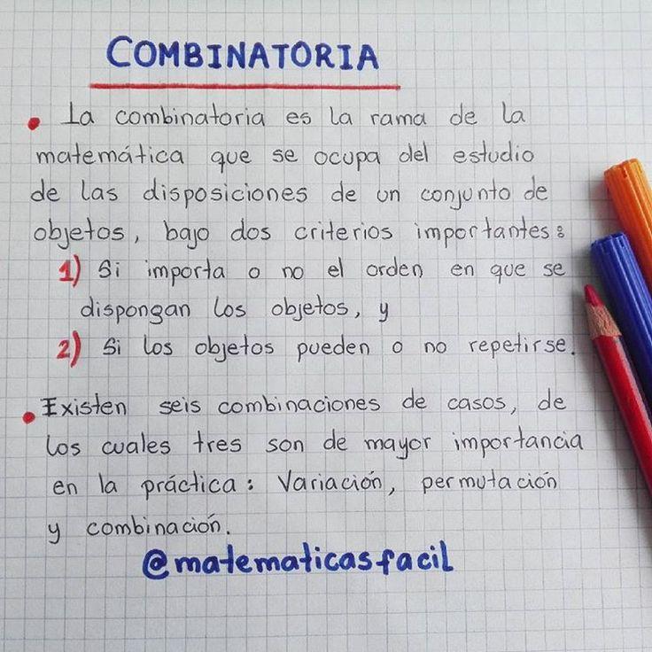 COMBINATORIAS    Tres casos que estudiaremos:  1. Variación  2. Permutación  3. Combinación.    #matematicas #matematica #matematik  #estadistica #estadisticas #combinatoria #probabilidades #probabilidad #variacion #variaciones #permutacion #permutaciones #combinacion #combinaciones #barranquilla #colombia