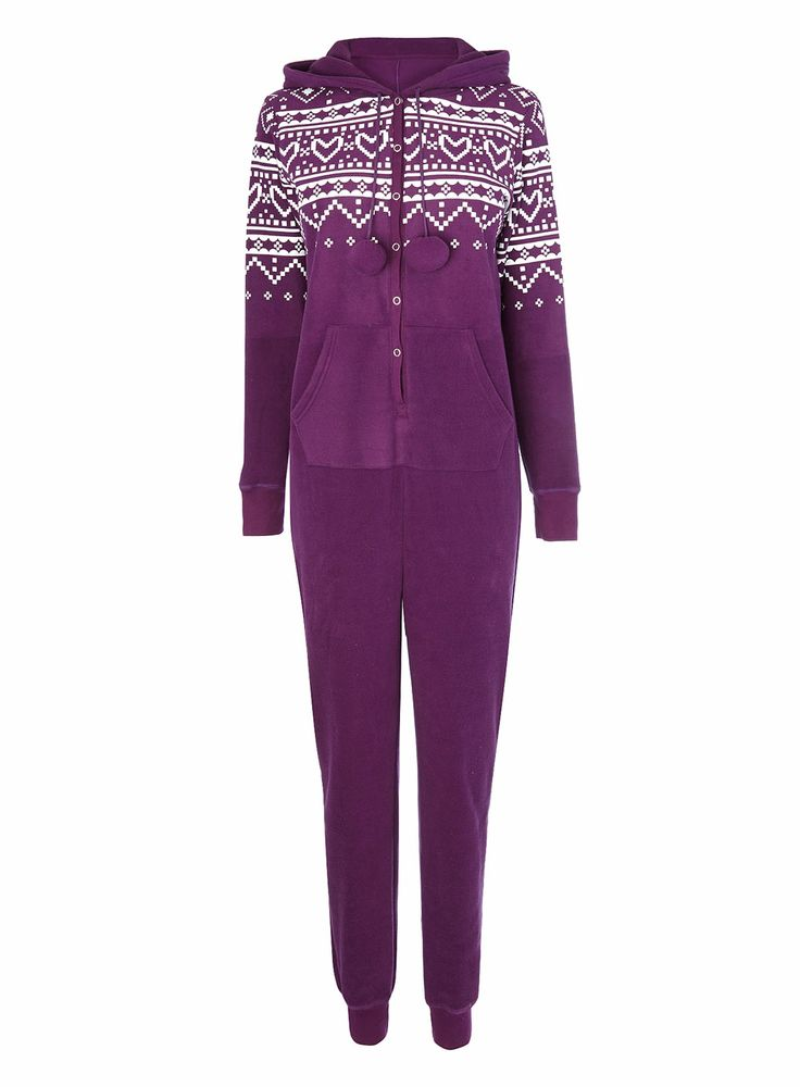 Purple Multi Fairisle Placement Print Fleece Onesie - Gifts - Sale - BHS