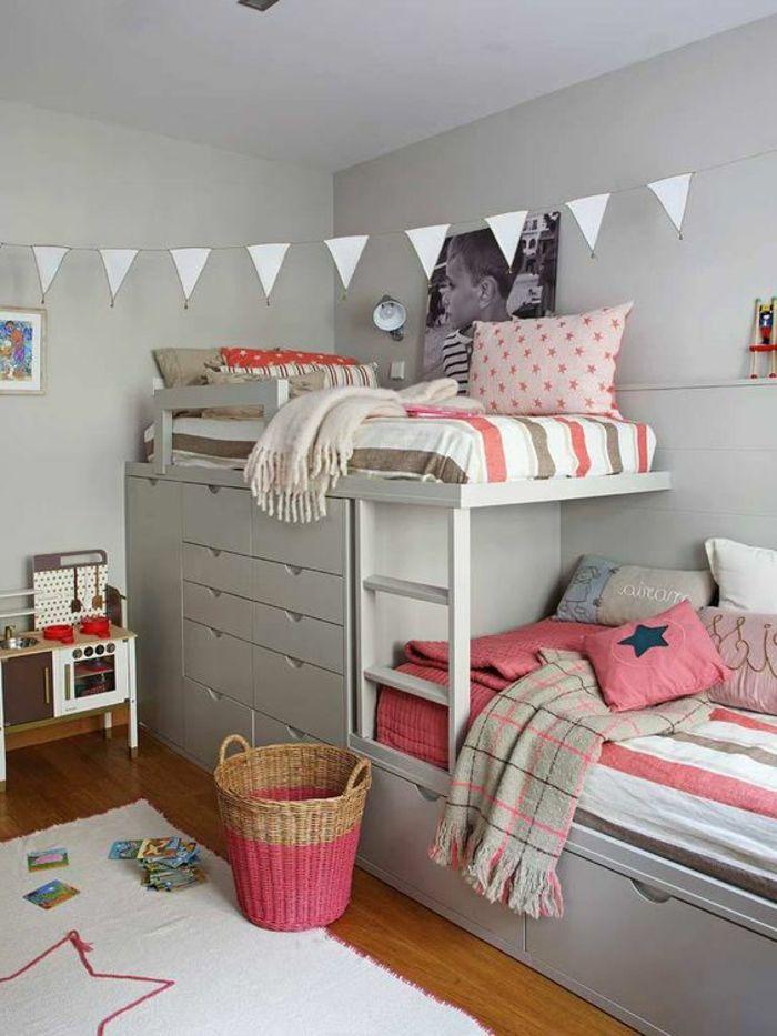 chambre moderne fille ado, lits siperposés dans une chambre grise