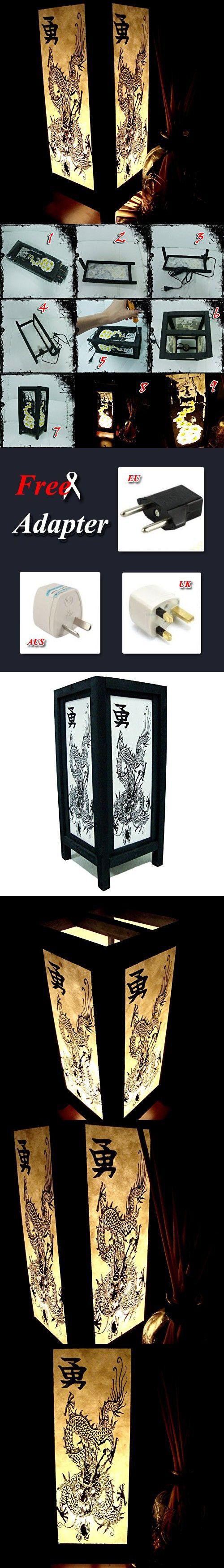 Chinese Dragon White Black Table Lamp Lighting Shades Floor Desk Outdoor Touch Room Bedroom Modern Vintage Handmade Asian Oriental Wood Bedside Gift Art Home Garden Christmas; Us 2 Pin Plug #404