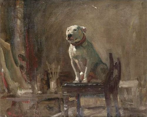 Alfred J. Munnings  A Bull Terrier Named Weller  First half 20th centuryArtists Dogs, Art Dogs, Bull Terriers, Alfred Mun, English Painters, Dogs Art, Dogs Painting, Sir Alfred, Animal