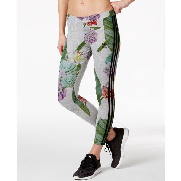 Adidas Originals Floral Print Leggings 40 Liked On Polyvore Featuring Pants Multi Color Stretch Pan
