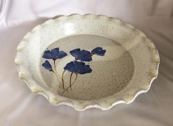 $38 - Hand Made Ceramic Pie Plate Speckled Glaze, Hand Painted Pottery Plate Dish Blue Flax Flowers