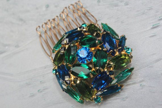 Vintage 1950s Emerald & Sapphire Bridal by ButterflyEffectInc, $65.00