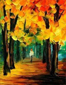 kleurrijk schilderij bos