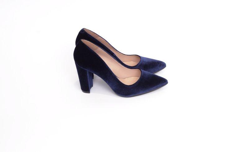 Zapato salón mujer tacón cómodo color azul marino terciopelo - Comfort women's shoes pump heel navy blue velvet- miMaO