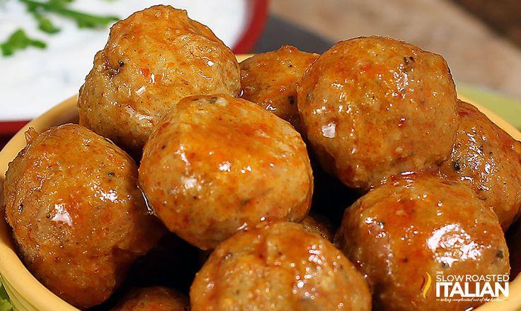 Buffalo Chicken Meatball Poppers