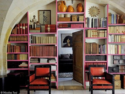 pink bookshelves + yellow