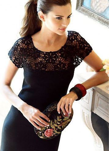 Crocheted yoke and sleeves: