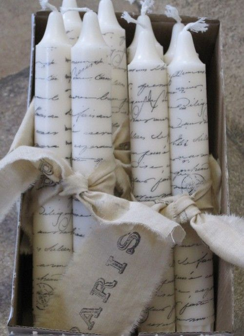 paris french script handstamped candles