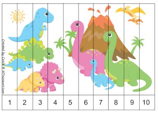 Free for kids: Dinosaur Numerical Sequence Puzzles