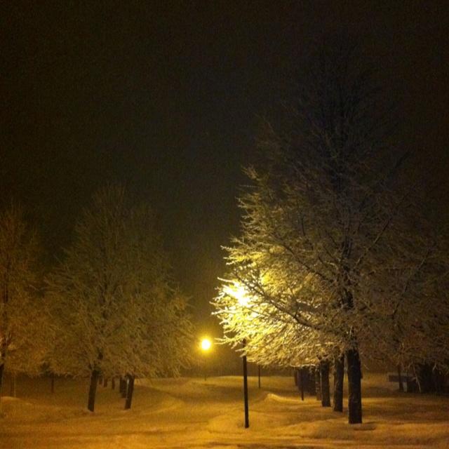 Beautiful snowy night in Espanola Ontario !!!
