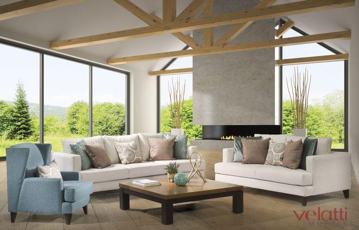 #Nuevo #diseño #sala Stanford  sofá y lovea seat en color neutro con un sillón en color azul para hacer contraste y combinándolo con los tonos de los #cojines #decorativos   Localizados en #cdmx www.velatti.com.mx   #descuento #sala #comedor #recámaras #decoración #muebles #mueble #mueblería  #hogar #casa #mesa