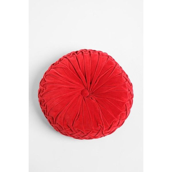 Round Red Decorative Pillows : Round Pintuck Pillow ($39) liked on Polyvore featuring home, home decor, throw pillows, washed ...
