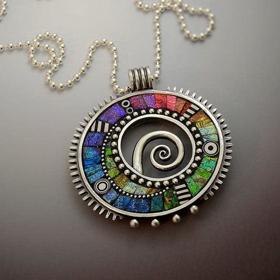 RESERVED Sterling silver pendant necklace with rainbow iridescent mosaic inlay polymer clay sterling strand chain