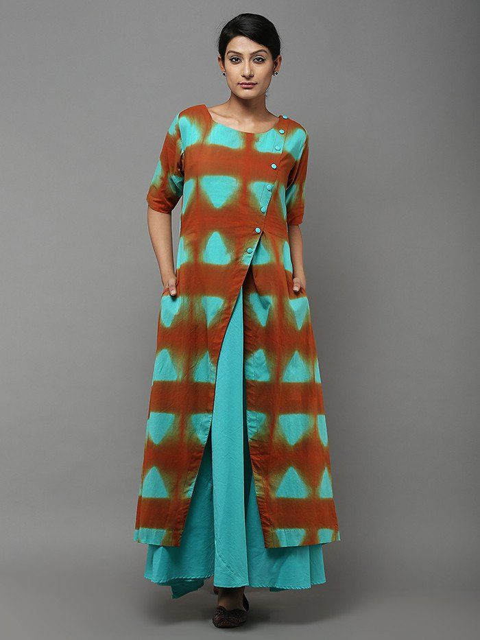 Sea Green Orange Tie and Dye Cotton Dress with Lining - Set of 2