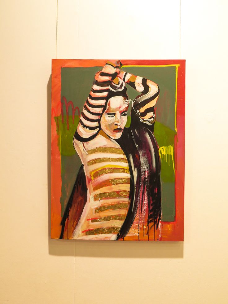 Abstract fashion model ( acrylic ,spray  and gold leaf on canvas )