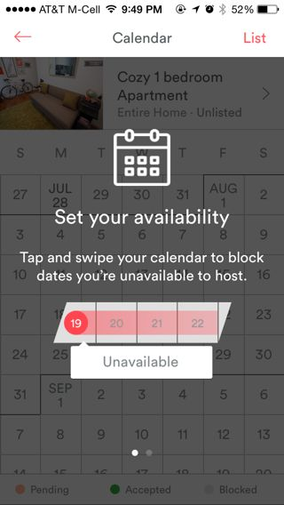 Airbnb iPhone calendar, coach marks screenshot