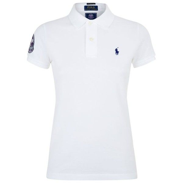 Polo Ralph Lauren Wimbledon Crest Polo Shirt ($130) ❤ liked on Polyvore featuring tops, blusa, short sleeve polo shirts, polo tops, polo shirts, sports polo shirts and ribbed top