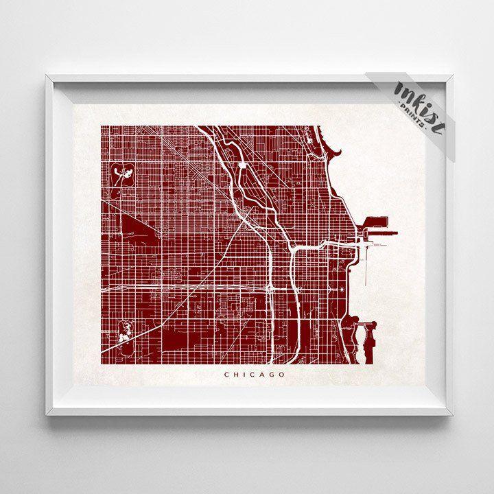 Chicago Illinois Street Map Print 353 best